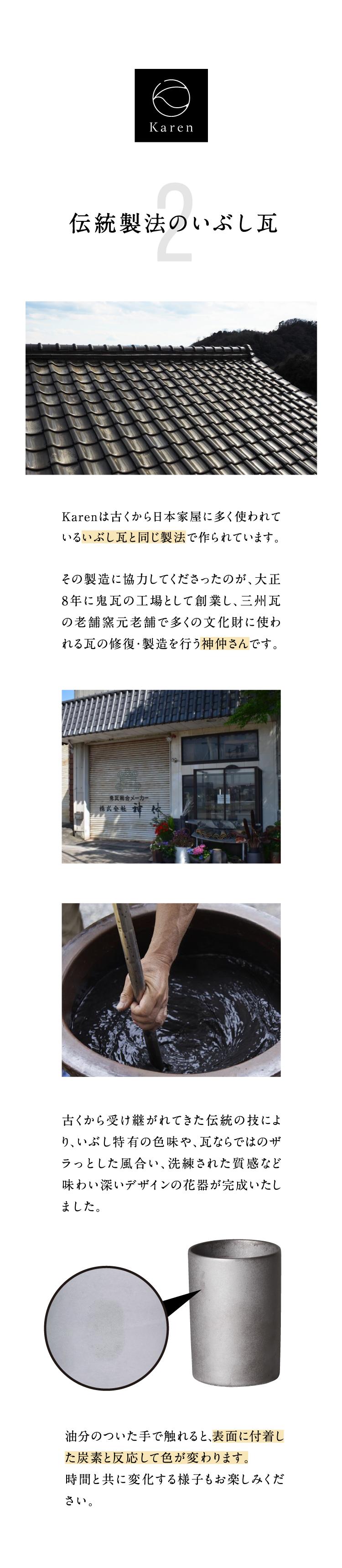 2.伝統製法のいぶし瓦