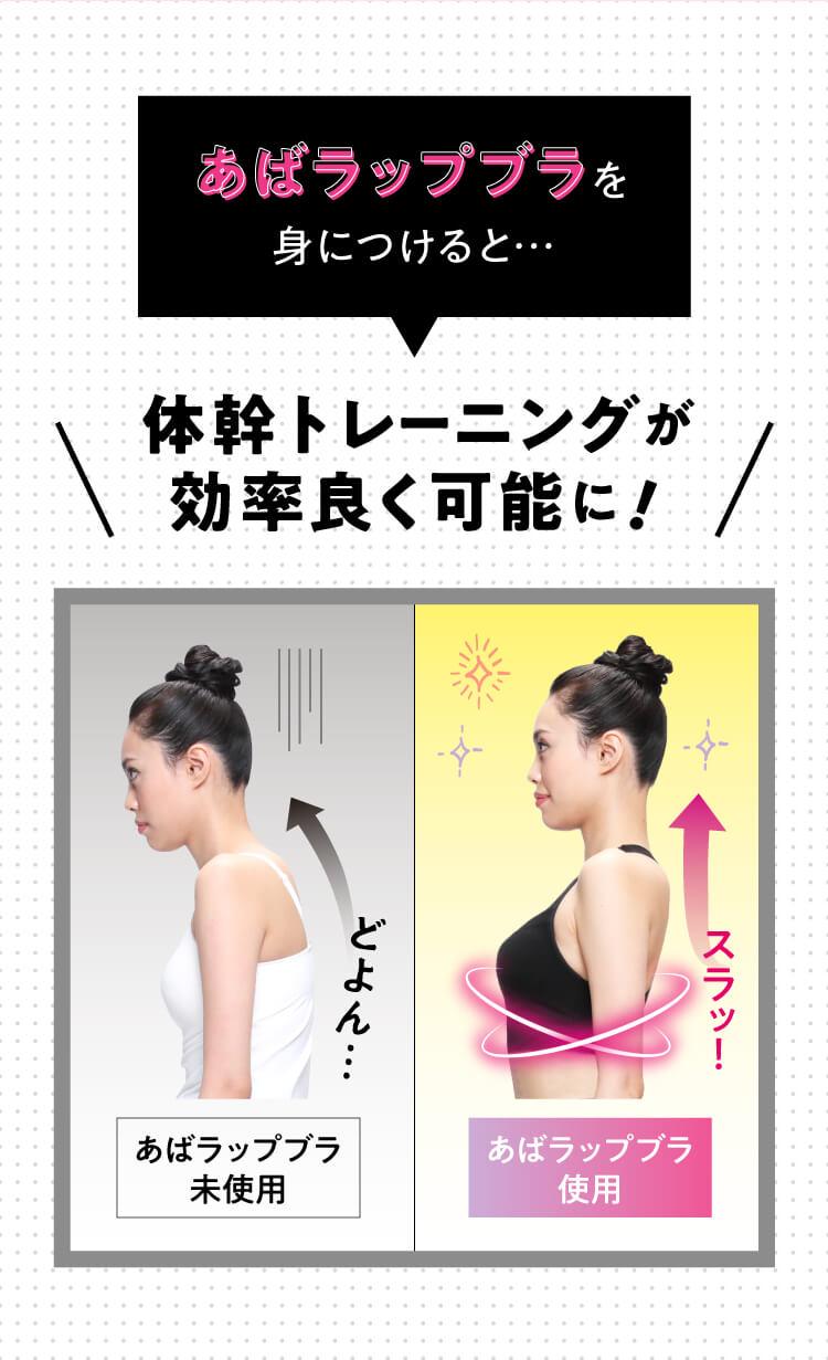 あばラップブラを身につけると体幹トレーニングが効率よく可能に!