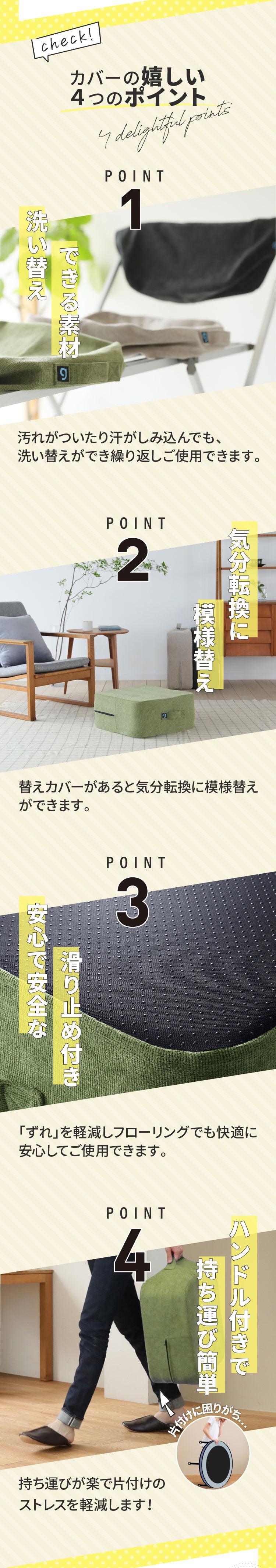 嬉しい4つのポイント 1.洗い替えできる素材 2.気分転換に模様替え 3.安心で安全なすべり止め付き 4.ハンドル付きで持ち運び簡単