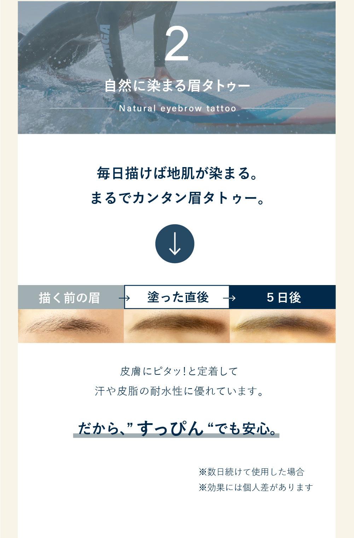 2.自然に染まる眉タトゥー
